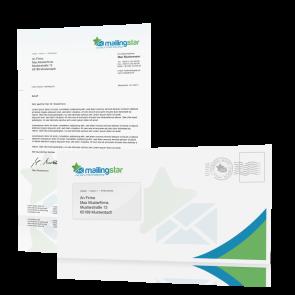 Brief Mailing Klassik DIN-lang: 1-seitig farbiges Anschreiben inkl. Kuvert farbig