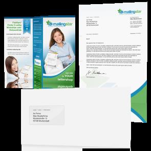 Brief Mailing Klassik DIN-lang: 1-seitig farbiges Anschreiben inkl. Kuvert weiß & A4 Folder auf Din-lang