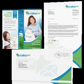 Brief Mailing Klassik DIN-lang: 2-seitig farbiges Anschreiben inkl. Kuvert farbig & A4 Folder auf Din-lang