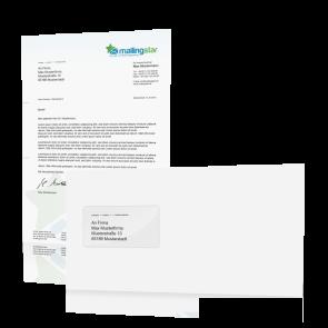 Brief Mailing Klassik DIN-lang: 1-seitig farbiges Anschreiben inkl. Kuvert weiß