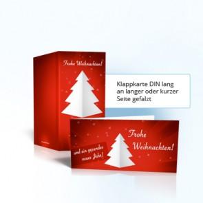 Weihnachtsmailing mit Klappkarte und farbiges Kuvert